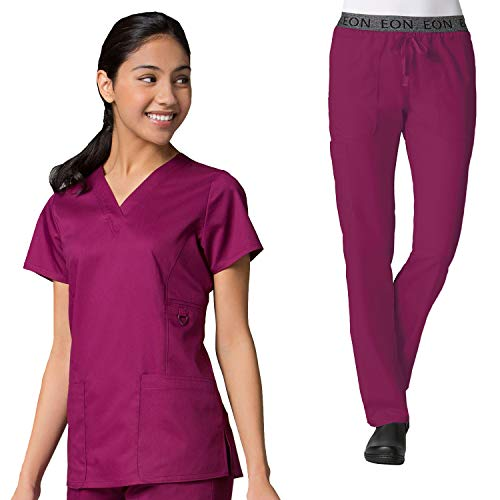 - Maevn Eon Women's Active V-Neck Pocket Scrub Top & Embroidered Logo Scrub Pant Set