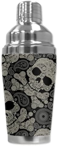 """Mugzie 946-SHA""""Paisley Skulls"""" Cocktail Shaker with Insulated Wetsuit Cover, 16 oz, Black [並行輸入品]"""