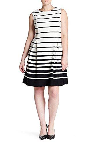 Eliza J Plus Size Graduated Stripe Pleated Sleeveless Dress