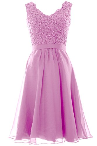 MACloth Women V Neck Vintage Lace Chiffon Short Prom Dresses Wedding Party Gown Rosa
