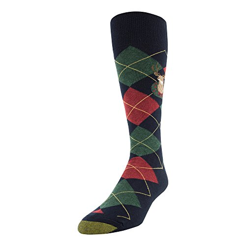 Gold Toe Men's Printed Novelty Graphic Fashion Dress Crew Socks, 1 Pair, deer argyle, Shoe Size: - Argyle Deer