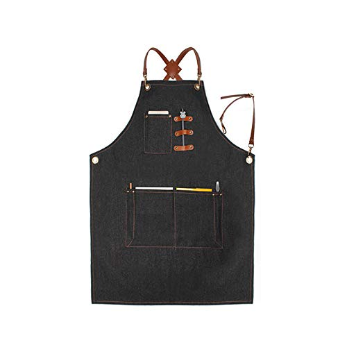 Denim Jean Work Apron, Adjustable Shop Apron Chef Apron with Cross-back Leather Straps by JayTong (Style 2)