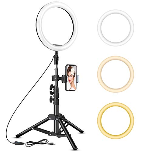 10 inch Ring Light with Tripod Stand - Rovtop LED Camera Selfie Light Ring with iPhone Tripod and Phone Holder for Video/Photography/Makeup/Live Streaming, Compatible with iPhone and Android Phone