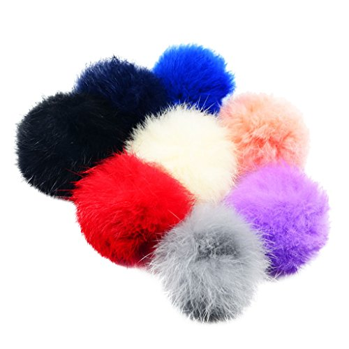 Jili Online 8 Pieces Faux Rabbit Fur PomPom Ball for Cell Phone Decor DIY Keychain Materials