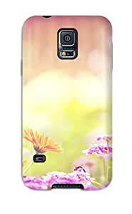 Rugged Skin Case Cover For Galaxy S5- Eco-friendly Packaging(marigold Lilac Purple Flowers)