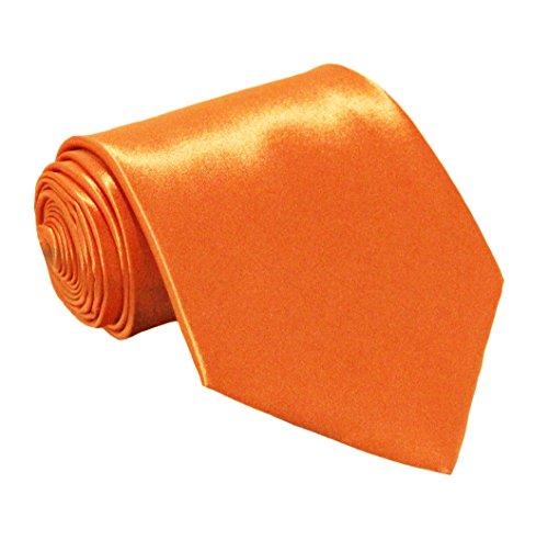 Soophen NEW Mens Necktie SOLID Satin Neck Tie Orange