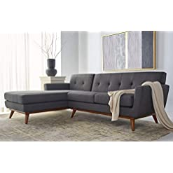 Living Room Safavieh Couture Home Opal Mid-Century Modern Slate Grey and Walnut Tufted Sectional Sofa modern sofas and couches