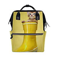 Funny Cat with Rain Boot Large Capacity Diaper Bags Fashion Mummy Bag Tote Bags Large Capacity Multi-Function Backpack for Travel