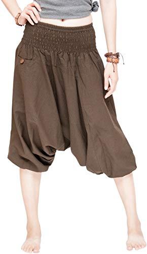Capri Baggy Harem Aladdin Pants Unisex Shirred Waist Shorts (Solid Brown) -