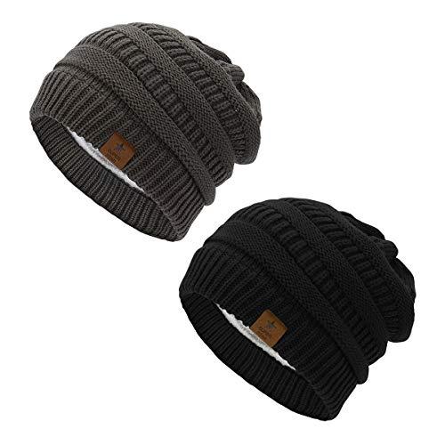 Beanie Fleece Chunky - Century Star Women Fleece Lined Knit Beanie Soft Chunky Slouchy Beanie Unisex Winter Warm Hat 2 Pack Black&Dark Grey
