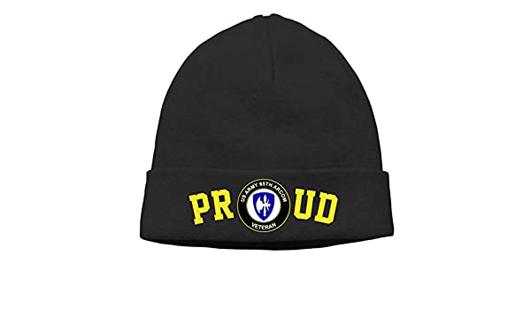 FORDSAN CP Proud US Army 65TH Arcom Veteran Mens Beanie Cap Skull Cap Winter Warm Knitting Hats.
