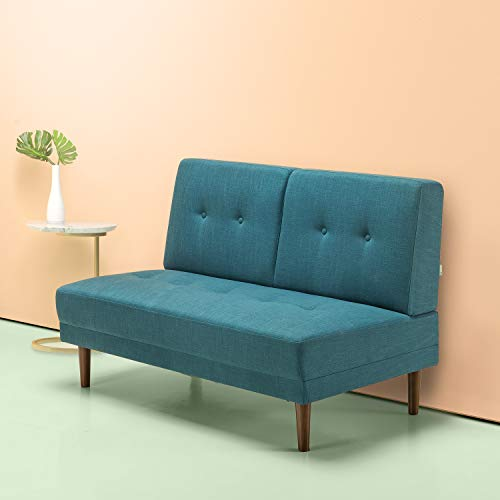 Zinus Mid-Century 51in Armless Sofa Couch/Loveseat, Turquoise