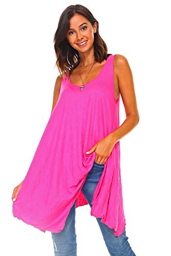 (Simplicitie Women's Sleeveless Swing Flare Tunic Dress Tank Top - Regular and Plus Size - Made in USA (Medium, Fuchsia))