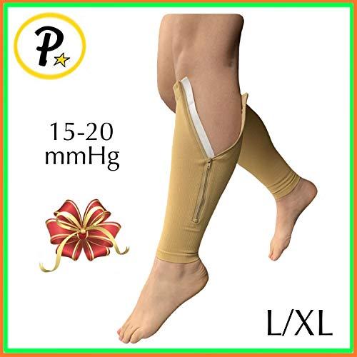 Presadee Calf Zip 15-20 mmHg Compression Sleeve with Zipper Plus Size Leg Swelling Shin Extra Wide Calves Circulation Fatigue Knee Length Support (Beige, L/XL)