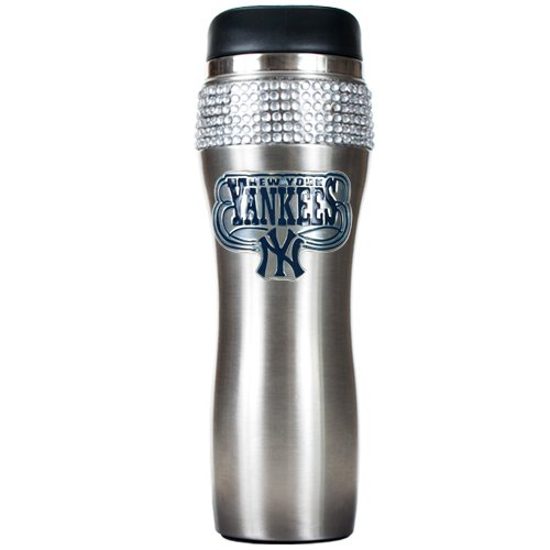 MLB New York Yankees 16-Ounce Black Stainless Steel Bling Tumbler
