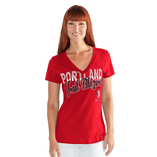 NBA Portland Trail Blazers Women's 1St Down V-Neck Tee, Small, Red