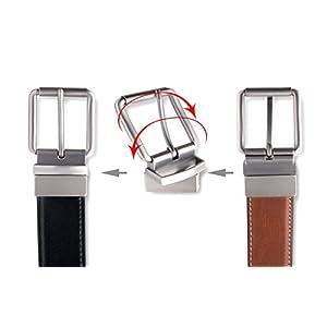 Men's Genuine Leather Dress Belt, Reversible Belt for Men Black/Brown Adjustable Size Up to Size 44