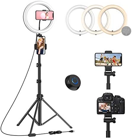 "10"" Led Ring Light with Tripod Stand 67"" and three Phone Holders, Phone/Camera Tripod with Bluetooth Remote Control for Makeup/Live Stream/Selfie/Photography, Compatible with Most Smartphones - WONEW ZJ08"