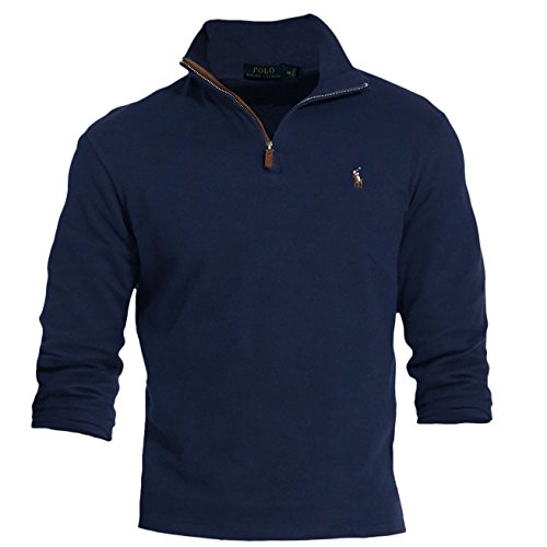 Polo Ralph Lauren Men's Estate Rib Half Zip Sweater (XX-Large) (Half Zip Sweater Blue)