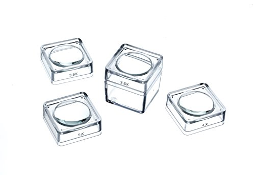 SE MB2346-5 4 in 1 Magnifier Box Set (1 Square Box and 4 Interchangeable Glass Lens Snap On - 1 4in Box