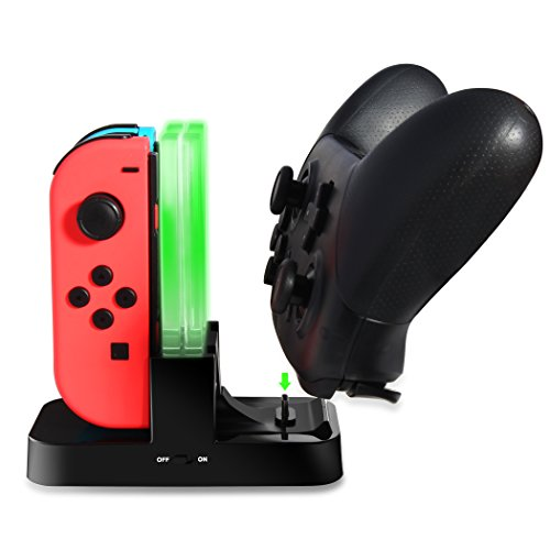DOBE Contoller Charger for Competible with Nintendon Switch, Joy-Con Charger,5-in-1 Charging dock station,Pro Controller Charger Stand Stroage with LED Indicator and Type C Cable for Nintendo Switch