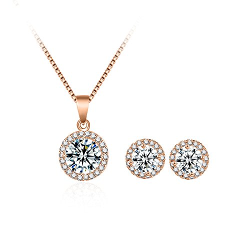 Fleur Rouge - fleur rouge Halo CZ Jewelry Set - 18K Rose and White Gold Plated Round Cubic Zirconia Stud Earrings and Pendant Necklace Set