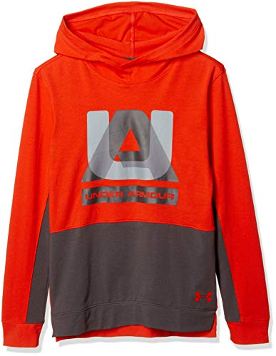 Under Armour Boys sportstyle Hoodie, Radio Red (892)/Charcoal, Youth Large
