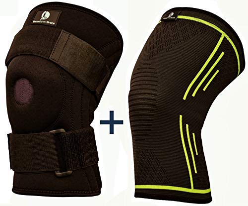 Knee Brace + Bonus Compression Knee Sleeve by Support-n-Brace – Braces & Sleeves for Men & Women – Support Running Gym Basketball – Wrap Either Leg – Pain Relief Recovery – Arthritis ACL PCL Injuries