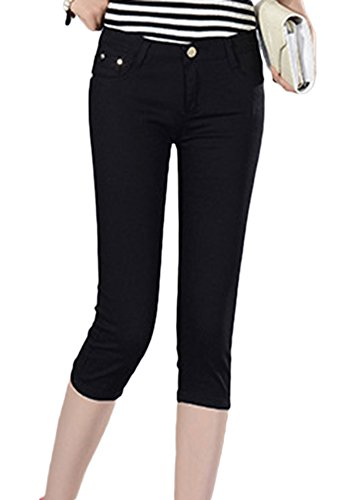 4 Vita Estate 3 Slim A Corta Nero Tinta Jeans Fit Bassa Matita Pantaloni Unita Donna tzfqwdq