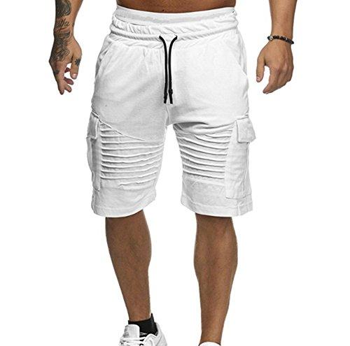 Deportes Playa Hombres Pantalones Casual Jogger Gym Fitness Rayas De Blanco Huateng Chándal Men Sólido Cortos xHwqR5wd