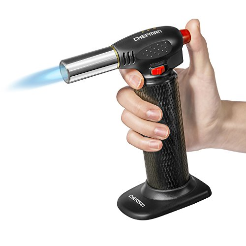 Chefman Culinary Torch Refillable Butane - Cooking Kitchen Blow Torch w/Safety Lock & Adjustable Flame Best for Baking, BBQ, Creme Brulee, Soldering, Camping & More! Butane Gas Not Included, Black ()
