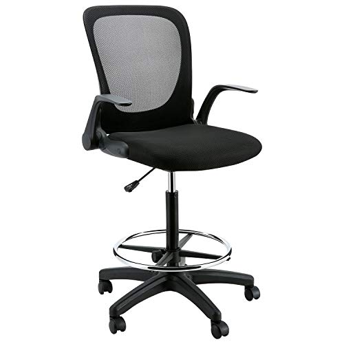 YOUNIS Drafting Chair with Black Fabric Seat, Adjustable Armrest and Foot Ring, Black Breathable mesh backrest, Reception Desk Chair, Tall Office Chair by YOUNIS (Image #6)