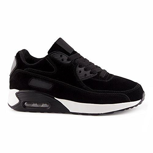 FiveSix Herren Damen Sneaker Sportschuhe Laufschuhe Freizeitschuhe Dämpfung Velours-Optik Schnürschuhe Low-Top Unisex Schuhe Schwarz-W