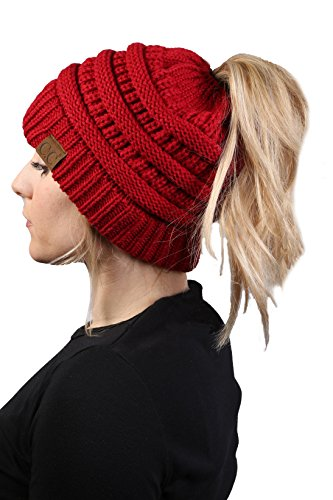 BT-6020a-42 Messy Bun Womens Winter Knit Hat Beanie Tail - Red - Red Knit Beanie Hat