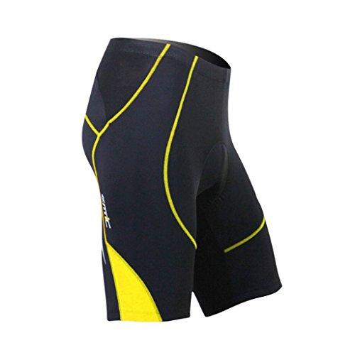 Padded Triathlon Shorts - SANTIC Cycling Men's Shorts Biking Bicycle Bike Pants Half Pants 4D Coolmax Padded Yellow XL