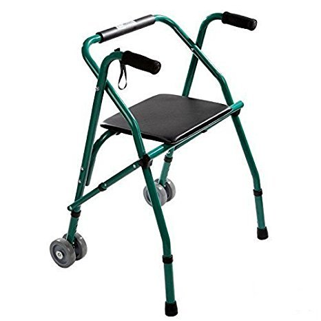 Kosmocare Premium Imported Folding Comfort Walker With Seat Incl. 2 Pairs Of Dual Front Wheels