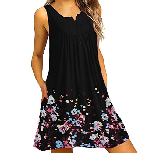 Ulanda Women's Long Sleeve Pockets Loose T-Shirt Dress Casual Swing Floral Lace Dress Plus Size (Medium, Floral Black)