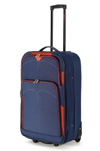 """5 Cities Lightweight Suitcase, Check-in Luggage Wheeled Rolling Bag with 3 Years Warranty (26"""", Navy 632)"""