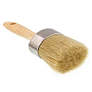 """US Art Supply Multi Use 2-1/8"""" Oval Chalk and Wax Brush for Chairs, Dressers, Cabinets and other Wood Furniture - 100% Natural Bristles, Lightweight and Rust Resistant"""