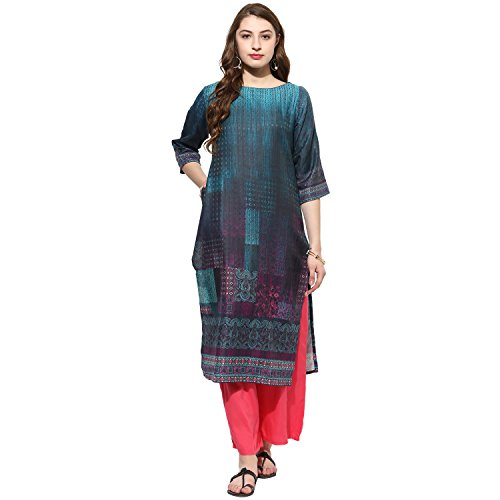 Lagi Kurtis Ethnic Women Kurta Kurti Tunic Digital Print Top Dress New Casual Wear by 2XL, Turq(VK2066B) (Dress Natural Silk)