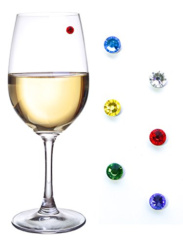 Swarovski Crystal Magnetic Drink Markers & Wine Charm Tags for Stemless Glasses, Beer Mugs, Champagne Flutes & More - Set of 6 Floral Colors