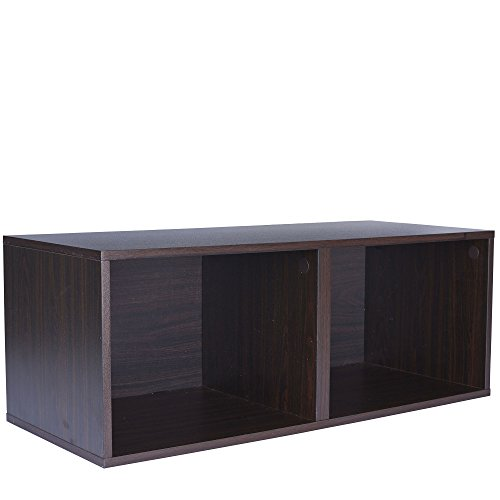 Household Essentials 8004-1 Modular Double Cube Storage Cubby | Espresso - Single Storage Bench