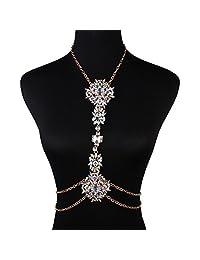 MJARTORIA Bikini Beach Crossover Harness Rhinestone Necklace Body Chain