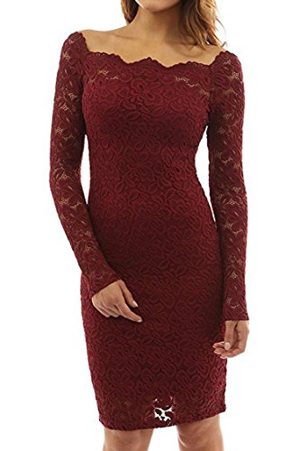 Herose Girls Medium Thick Mini Decent Lace Dress For Graduation Party M Wine Red]()