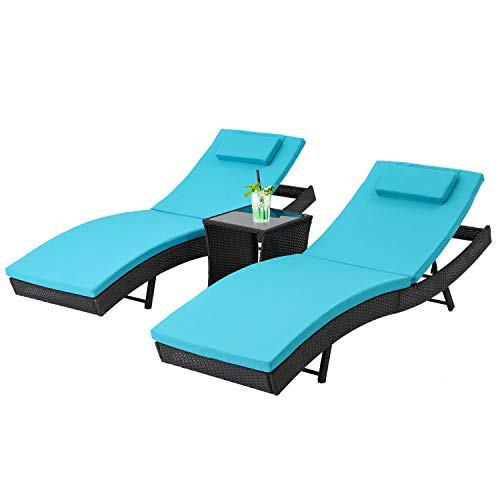 Oakmont Outdoor Patio Furniture Chaise Lounge Chair Adjustable Wicker Couch Bed Blue Thick Cushion (Sale Loungers Garden)