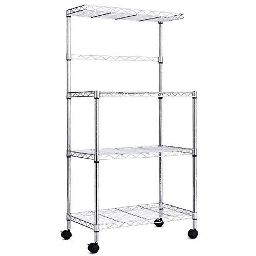 Price comparison product image Layer Wheel Tier Kitchen Rack Stand Storage Cart Workstation Shelf Accessories