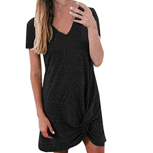 DealinM  Women's Dress,Women's Solid Color Simple Knotted V-Neck Short Sleeved Casual Long Dress Black