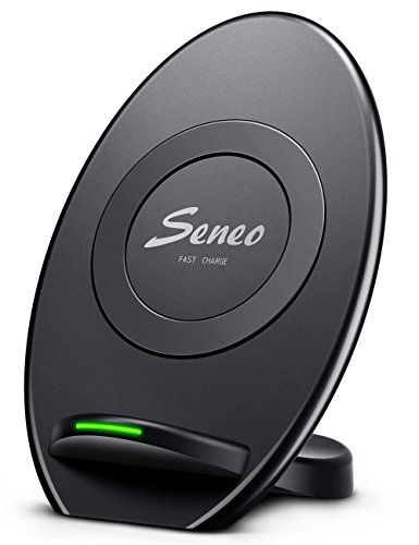 Seneo iPhone X Wireless Charger, Fast Wireless Chargers Stand Pad (Sleep-Friendly)for Samsung Galaxy Note 8 S8 S8 Plus S7 S7 Edge Note 5 S6 Edge Plus and Standard Charge for Apple iPhone X/8/8 Plus