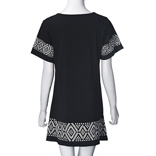 Mini-robe Femme 1PC Femmes Casual O-Neck manches courtes imprimé court Mini-robe VintageFulltime®