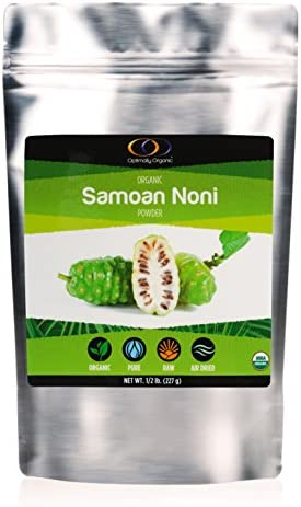 Noni Powder by Optimally Organic   Noni Supplement, Noni Extract, Morinda Citrifolia   Powerful Source of Enzymes, Fiber, and Probiotics, Air Dried, 1/2 lb